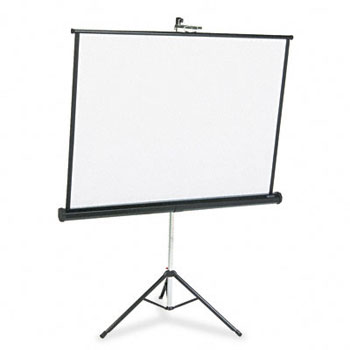 Portable Tripod Projection Screen, 50 x 50, White Matte, Black Steel Case printer supplies by Apollo
