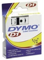 Dymo 45021 Label Machine Tape, 1/2 In, White on Black printer supplies by Dymo