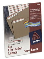 Avery 5066 Laser File Folder Labels, Permanent Red printer supplies by Avery