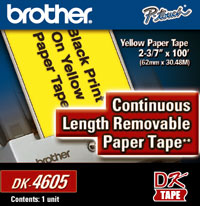 New Genuine Brother DK4605 Yellow Paper Tape, 1/Roll printer supplies by Brother