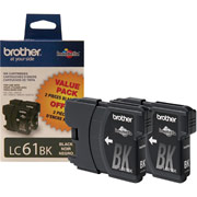 Genuine Brother LC61 Black Ink Cartridges 2 Pack BROTHER LC612PKS printer supplies by Brother