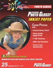 Genuine Inkjet Photo Glossy Paper, 8.5 x 11, Pack/25 printer supplies by Mirage