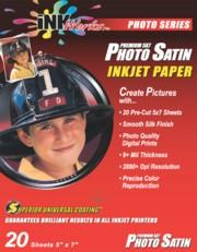 Premium Quality Photo Satin Paper - 9ml, 5x7, 20 Sheet/Pack printer supplies by InkWorks
